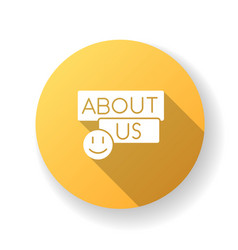 About us yellow flat design long shadow glyph icon vector