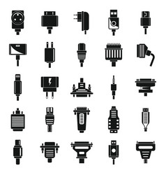 Adapter cable icons set simple style vector