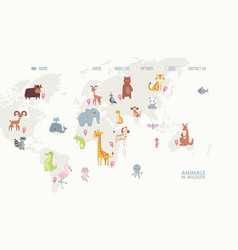 animals in wildlife on world map vector image