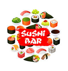Asian sushi bar food japanese seafood rolls vector