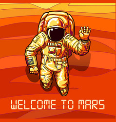 astronaut on mars poster vector image