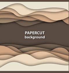 background with brown and beige color paper cut vector image
