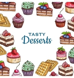 Bakery or pastry food poster dessert cake vector image