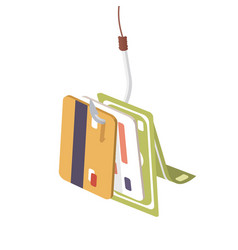banking card and cash money hang on fishing hook vector image