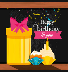 birthday gift with cupcakes vector image