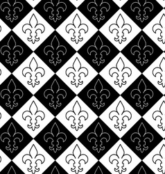 Black and white alternating Fleur-de-lis contoured vector