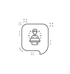 brand ambassador line icon man speaking sign vector image