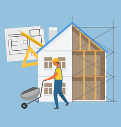 building construction builder with truck vector image