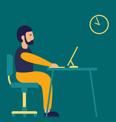 business man sitting desk work laptop computer vector image
