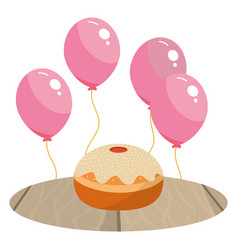 cake and balloons vector image