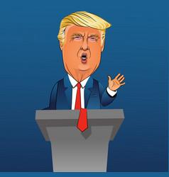 caricature president donald trump vector image