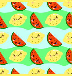 Cartoon childish fruits lemon and watermelon in vector