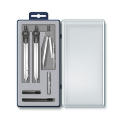 case of drawing instruments vector image