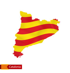 Catalonia map with waving flag country vector