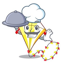 chef with food cute kite flying the on mascot vector image