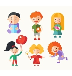 Children playing - flat design characters set vector