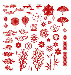 Chinese new year elements red asian traditional vector
