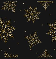 christmas gold snowflakes seamless background vector image