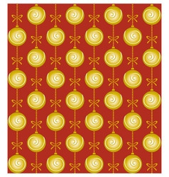 Christmas pattern with golden balls and bows on vector