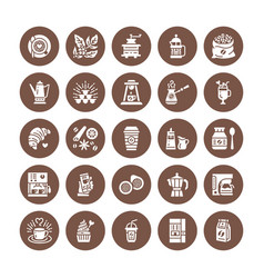 Coffee making equipment flat glyph icons elements vector