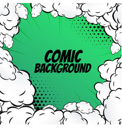Comic background with clouds frame pop art vector