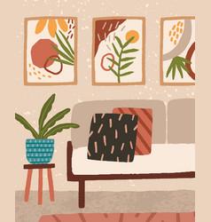 Cozy living room interior design with comfortable vector