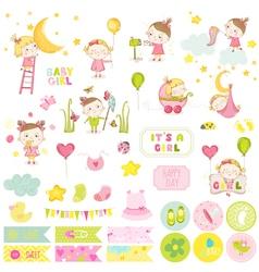 Cute bagirl scrapbook set stickers notes vector