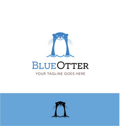 Cute blue otter logo vector