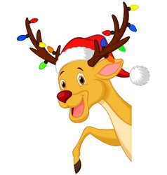Cute deer cartoon with bulb and red hat vector image