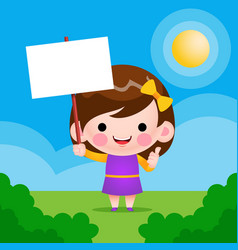 Cute little girl holding text vector