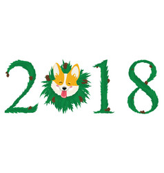 dog is symbol of 2018 year on chinese calendar vector image