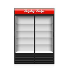 Double glass sliding door display fridge vector image