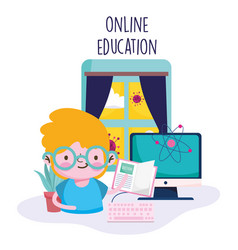 Education online little boy with book computer in vector
