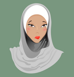 Emoticon muslim girl sadness vector