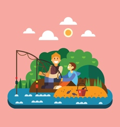 Fishing landscape vector