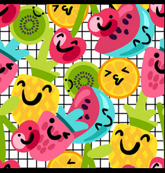 fruits characters seamless pattern vector image