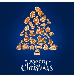 Gingerbread Christmas tree greeting card design vector image