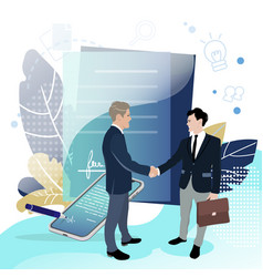 Good deal signing business contract profitable vector