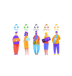group people sort trash in multi-colored bins vector image