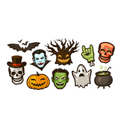 halloween set of labels or stickers holiday vector image
