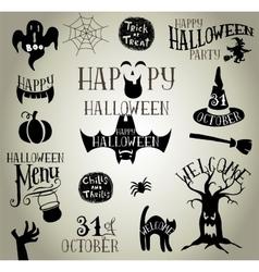 Halloween vintage silhouettes vector