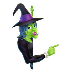 halloween witch pointing vector image