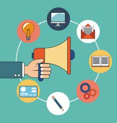 hand holding digital marketing design vector image
