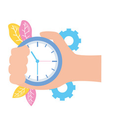 hand with clock time vector image