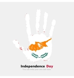 Handprint with the Flag of Cyprus in grunge style vector