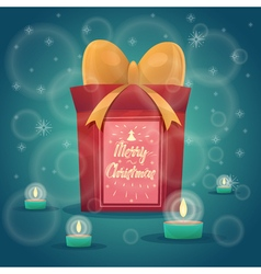Happy New Year Gift with calligraphy cute Merry vector image