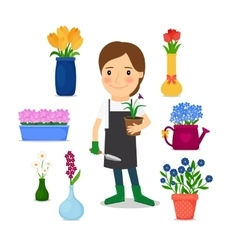 Happy woman gardening icons vector image