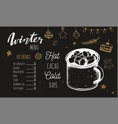 hot drinks winter menu design template includes vector image