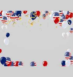 independence day background with american flags vector image