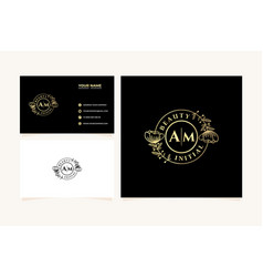 Initial am letters hand drawn feminine and floral vector